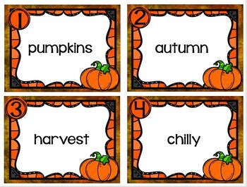 Read and Write Around the Room Fall Vocabulary