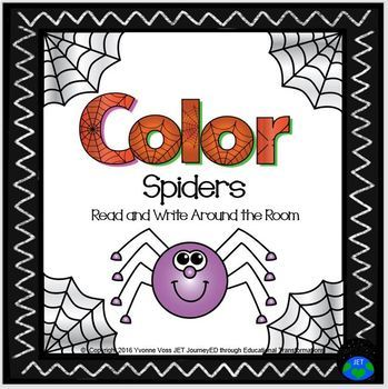 Read and Write Around the Room Halloween Color Spiders