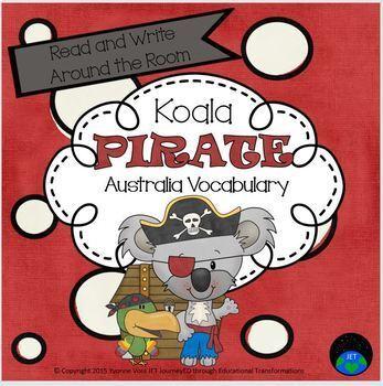 Read and Write Around the Room Koala Pirate Australia Vocabulary