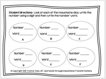 Read and Write Around the Room Moustache Math