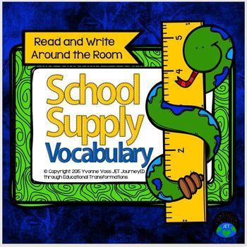Read and Write Around the Room School Supply Vocabulary