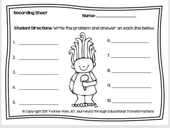 Read and Write Around the Room Troll Ten Frame Addition
