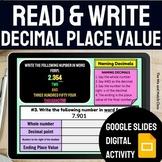 Read and Write Decimal Place Value Activity   Digital Stud