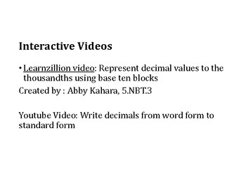 Read and Write Decimals PowerPoint