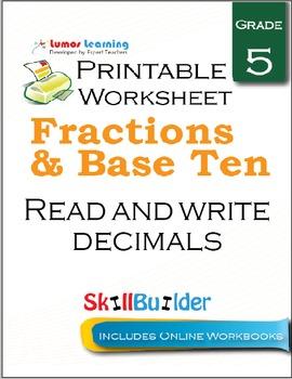 Read and Write Decimals Printable Worksheet, Grade 5