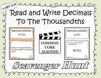 Read and Write Decimals - Scavenger Hunt (5.NBT.A.3a)