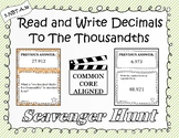 Read and Write Decimals - Scavenger Hunt (5.NBT.A.3a)