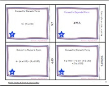Read and Write Decimals Using Expanded Form Task Cards
