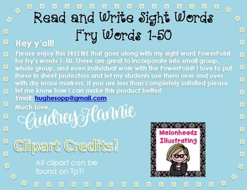 *FREEBIE* Read and Write Fry Words 1-50