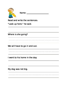 Read and Write High Frequency Word Sentences