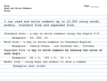 Read and Write Numbers INB