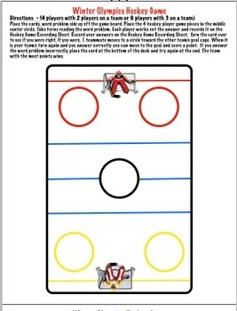 Read and Write Numbers Using Place Value  Winter Hockey Game with Task Cards