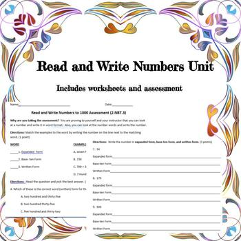 Read and Write Numbers Unit