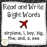 Read and Write Sight Words for Special Education AIRPLANE,