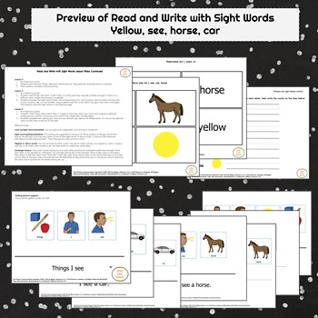 Read and Write Sight Words for Special Education SEE, CAR, YELLOW, HORSE