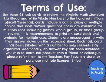 Read and Write Whole Numbers Task Cards