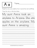 Read and Write a Story: Manuscript Handwriting Exercises