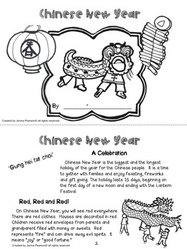 Read and Write about Chinese New Year  2nd and 3rd grade