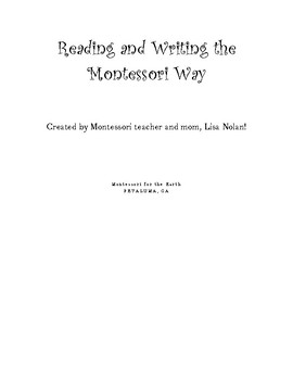 Reading and Writing the Montessori Way