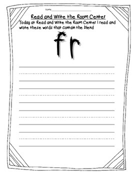 Read and Write the Room Center Forms Blends and Digraphs