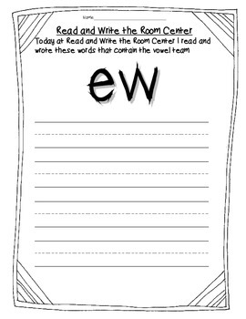 Read and Write the Room Center Forms Vowels and Vowel Teams