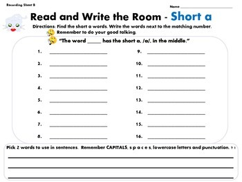 Read and Write the Room Short a Common Core Aligned Freebie