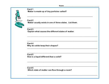 Reading Comprehension- Solids, Liquids and Gases Scavenger Hunt- Grades 4-7