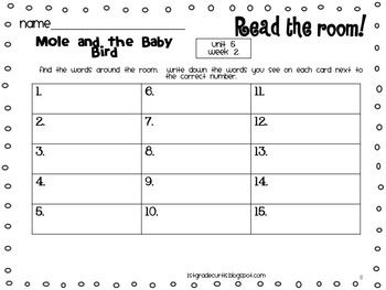 1st grade Reading Street: Read and Write the Room: Unit 5 weeks 1-3: