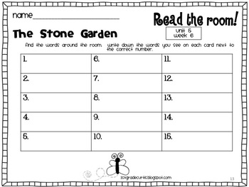 1st Grade Reading Street: Read and Write the Room: Unit 5 weeks 4-6