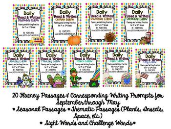 Read and Writes Yearly Bundle {Daily Fluency Passages Plus Writing Prompts}