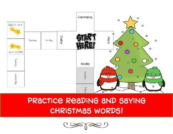 read and match domino game with christmas words