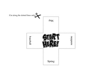 Read and match domino game with spring words
