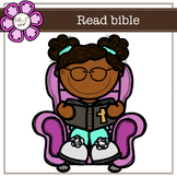Read bible digital Clipart (color and black&white)