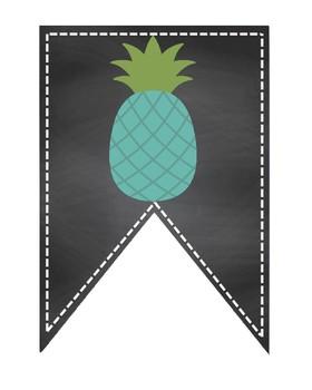Read bulletin board mint light green chalkboard pennant pineapple
