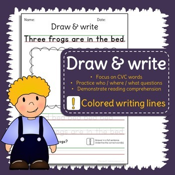 Sentence writing practice - CVC words - Read, draw, write with colored lines