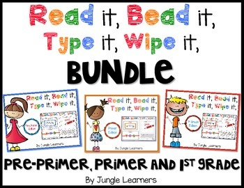 Sight Words Beginner Bundle: Read, Bead, Type & Wipe