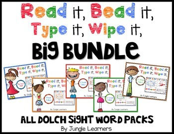 Sight Words Bundle: Read, Bead, Type & Wipe
