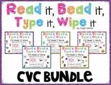 CVC Word Practice Bundle: Read, Bead, Type & Wipe