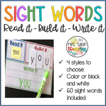Read it, Build it, Write it with 60 sight words included