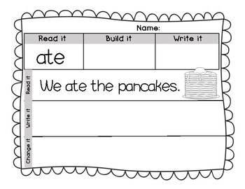 Read it, Build it, Write it, Change it! Sight Word Practice Journeys Unit 5