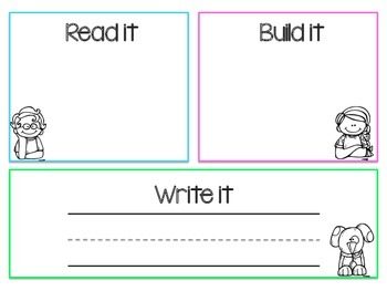 Read it, Build it, Write it Sight Word Center Activity