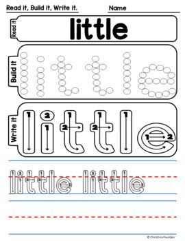 Sight Words Practice Worksheets Set 1 