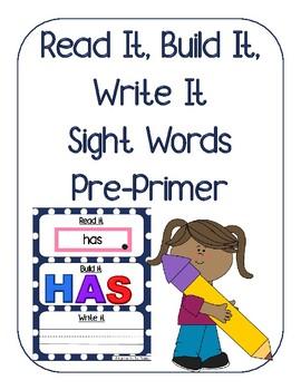 Read it, Build it, Write it Sight Words Pre-Primer