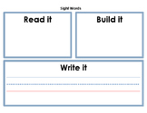 Read it, Build it, Write it Work Mat Spanish and English
