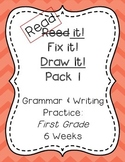 Read it! Fix it! Draw it! Pack 1, First Grade Grammar and Writing Practice