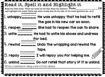 Read it, Spell it, Highlight it! Reading Street Unit 5 Weeks 1-6