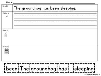 Read it, Trace It, Put the Sentence Together: Groundhog Theme