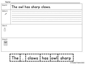 Read it, Trace It, Put the Sentence Together: Owl Theme