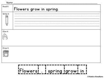 Read it, Trace It, Put the Sentence Together: Spring Weather Theme