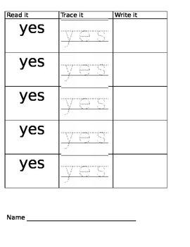 Read it Trace It Write it Single word per sheet